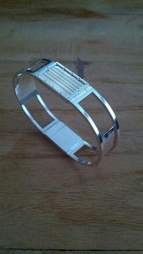 Zilveren armband met **Mokumé gane** en bakslot